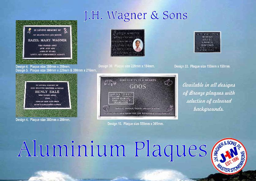 Aluminium Memorial Plaques Queensland from J.H. Wagner & Sons, Toowoomba and Sumner Park Brisbane