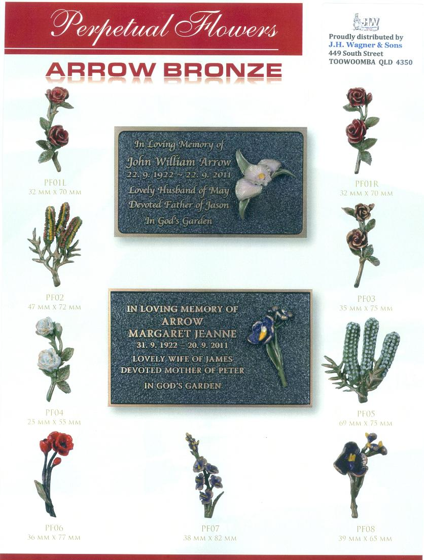Arrow Bronze plaques with Perpetual Flowers supplied by J.H. Wagner & Sons.