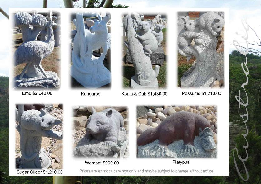 Emu, Kangaroo, Koala, Possums, Sugar Glider, Wombat, Platypus granite sculptures from J.H. Wagner & Sons