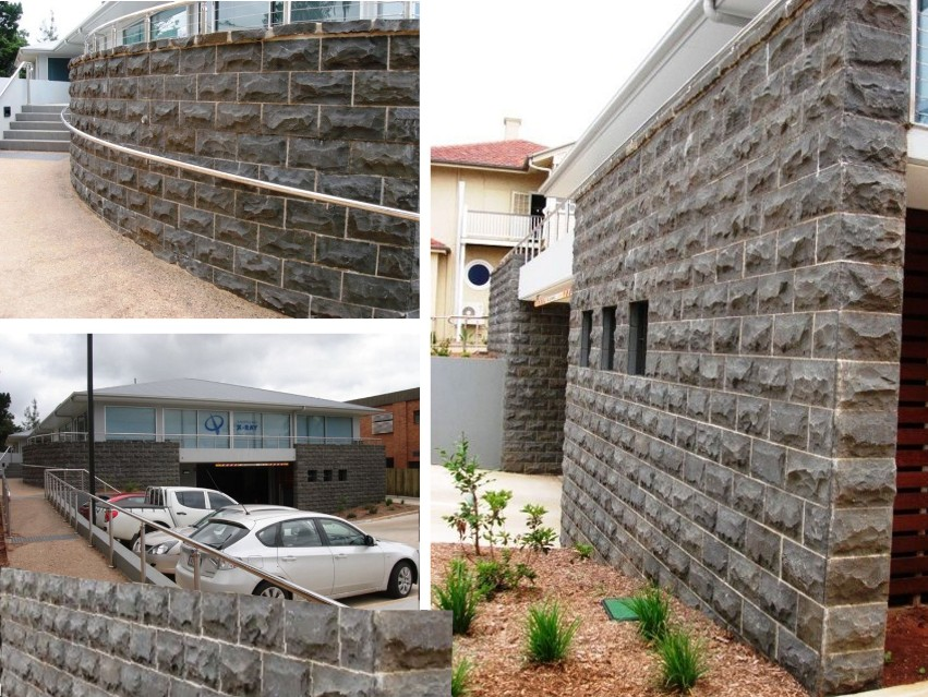 Basalt Rockfaced tiles for QLD X-ray building, Russell Street, Toowoomba.