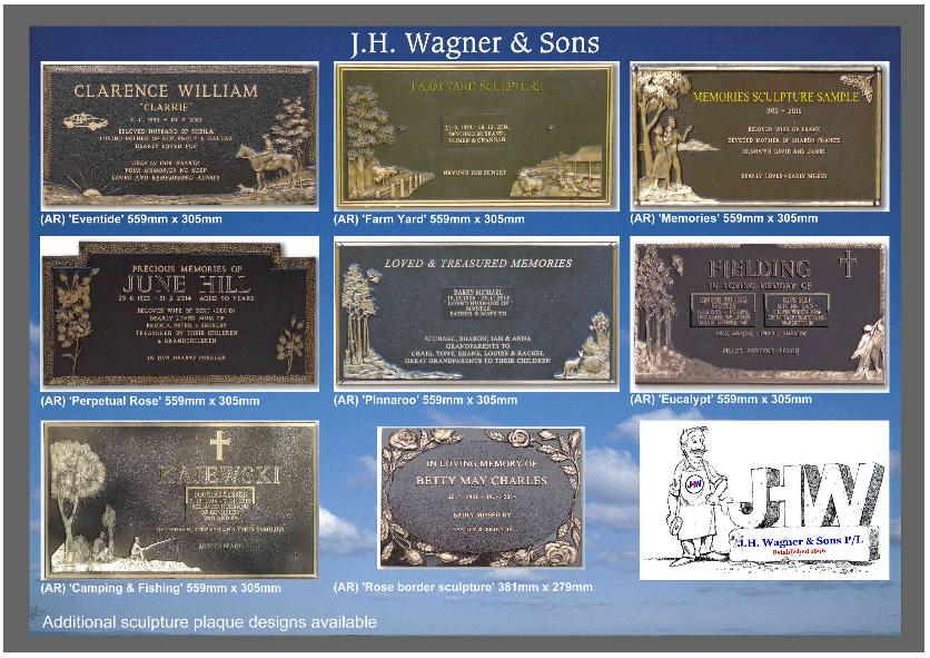 Bronze sculpture plaques from J.H. Wagner & Sons, supplying cemetery plaques for Queensland