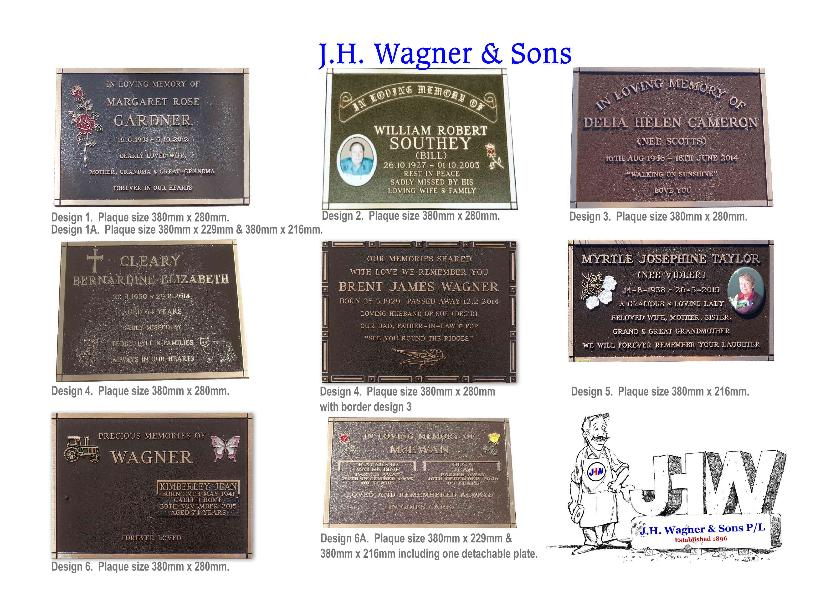 Bronze plaques from J.H. Wagner & Sons Queensland