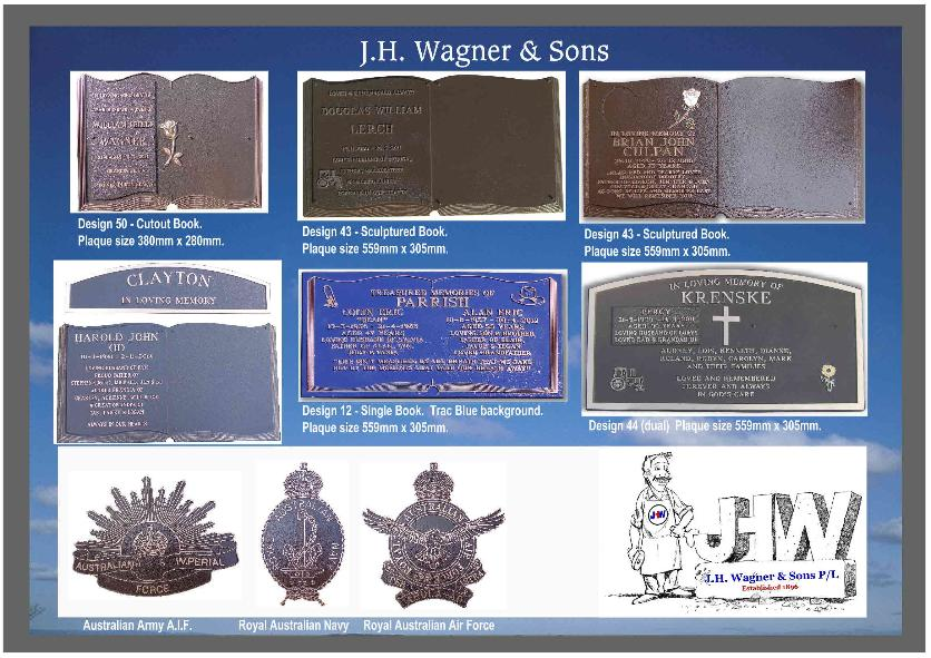 Bronze Book plaque and dual inscription plaques from J.H. Wagner & Sons, Toowoomba & Sumner Park Brisbane Queensland