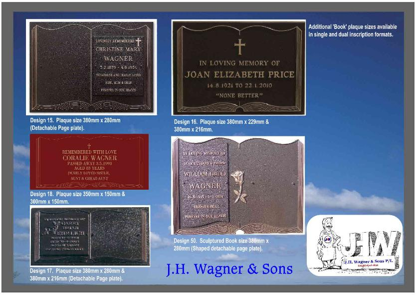Bronze Book plaques, headstones and lawn cemeteries from J.H. Wagner & Sons Queensland