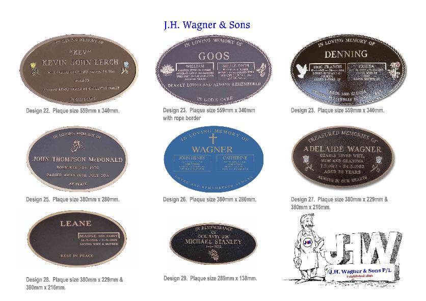 Bronze memorial plaques from J.H. Wagner & Sons Queensland