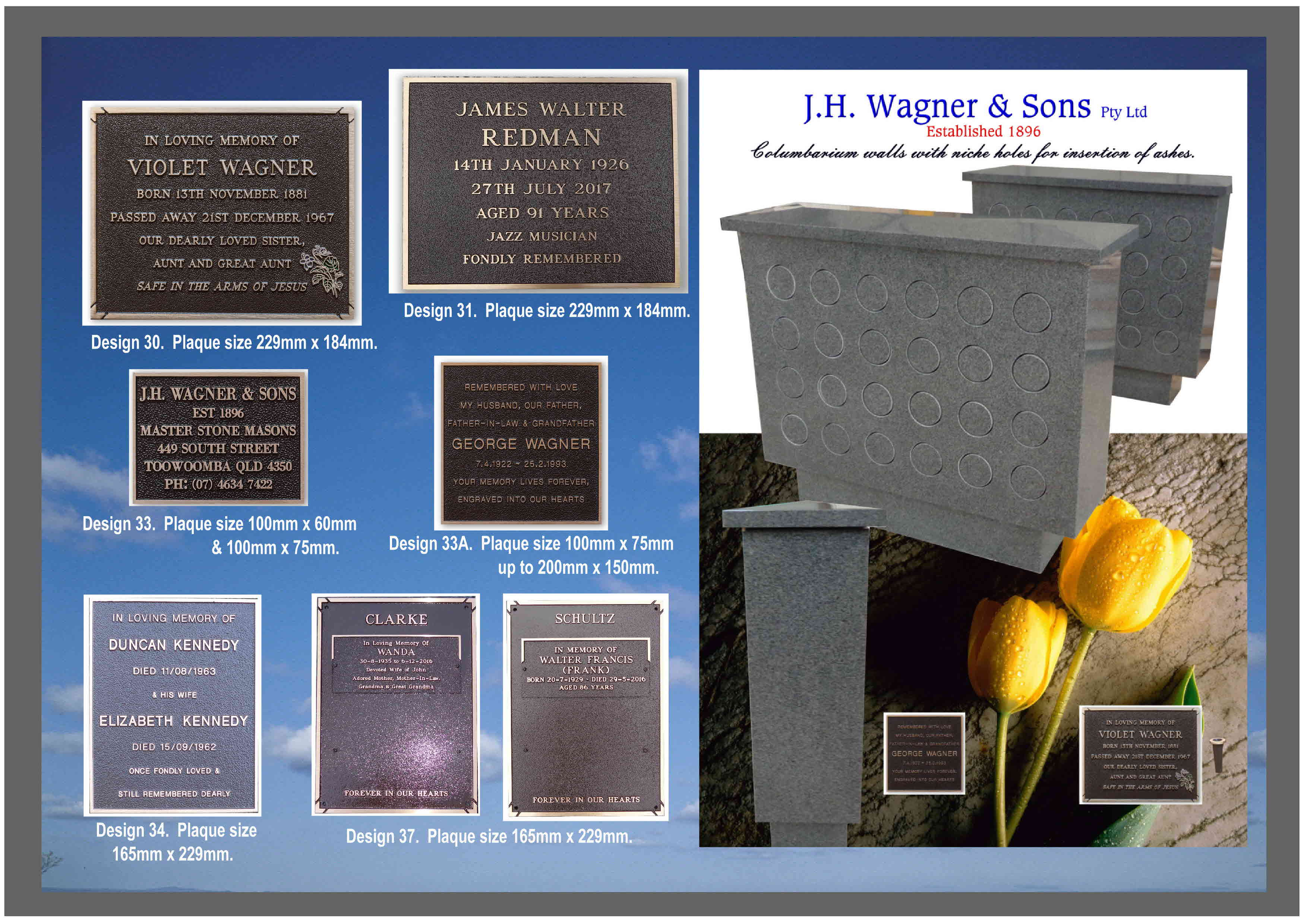 Bronze plaques from J.H. Wagner & Sons Page 5