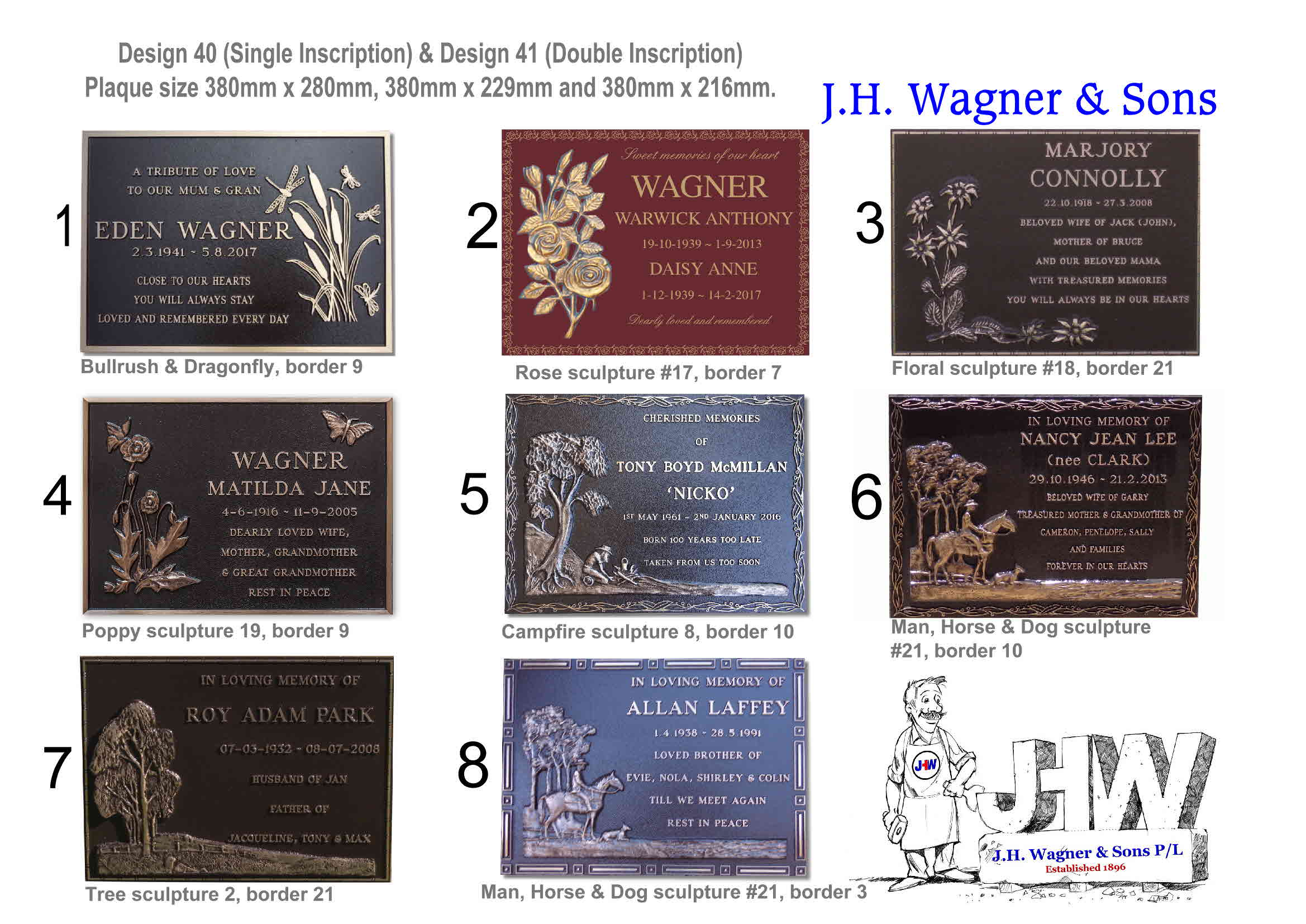 Bronze plaques from JH Wagner