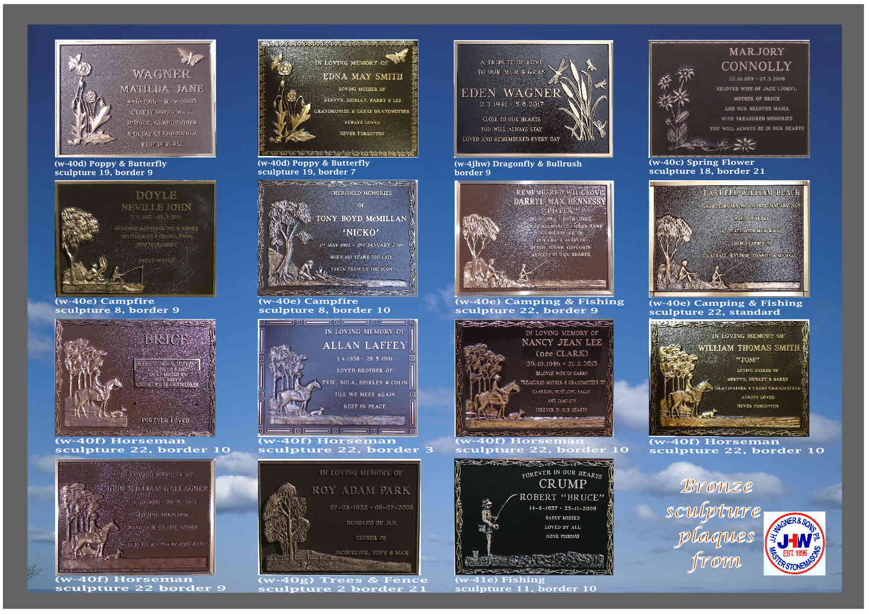 Bronze plaque sculpture designs for Cemetery plaques, J.H. Wagner & Sons Queensland