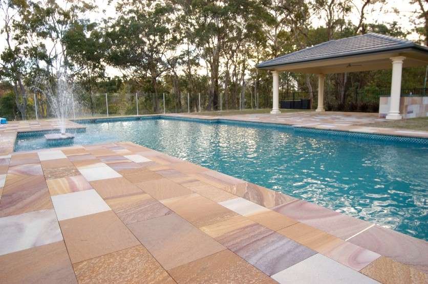 Sandstone Pool Paving by J.H. Wagner & Sons.
