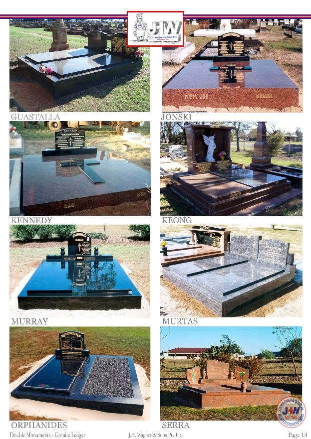 Double Granite Monuments supplied and installed by J.H. Wagner & Sons.