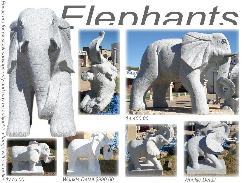 Elephant granite statue from Wagner Toowoomba