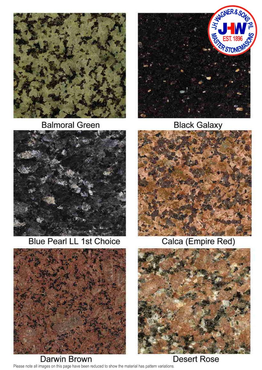 Granite Colour Chart from J.H. Wagner & Sons.