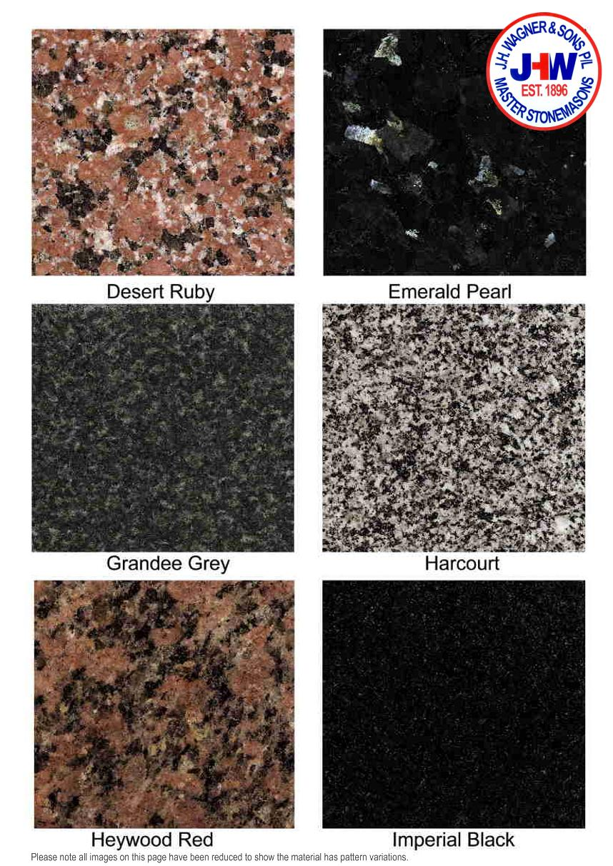 Granite Colour Chart from J.H. Wagner & Sons page 2