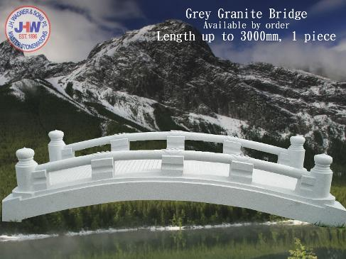 Grey granite stone garden bridge from J H Wagner Toowoomba and Brisbane, Queensland