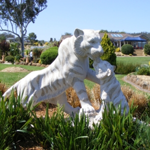 Carved granite tigers supplied by J.H. Wagner & Sons.