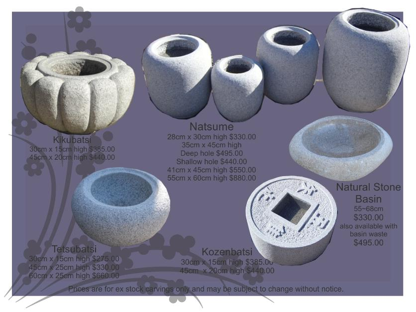 Japanese Water bowls, stone bowls, granite water bowls