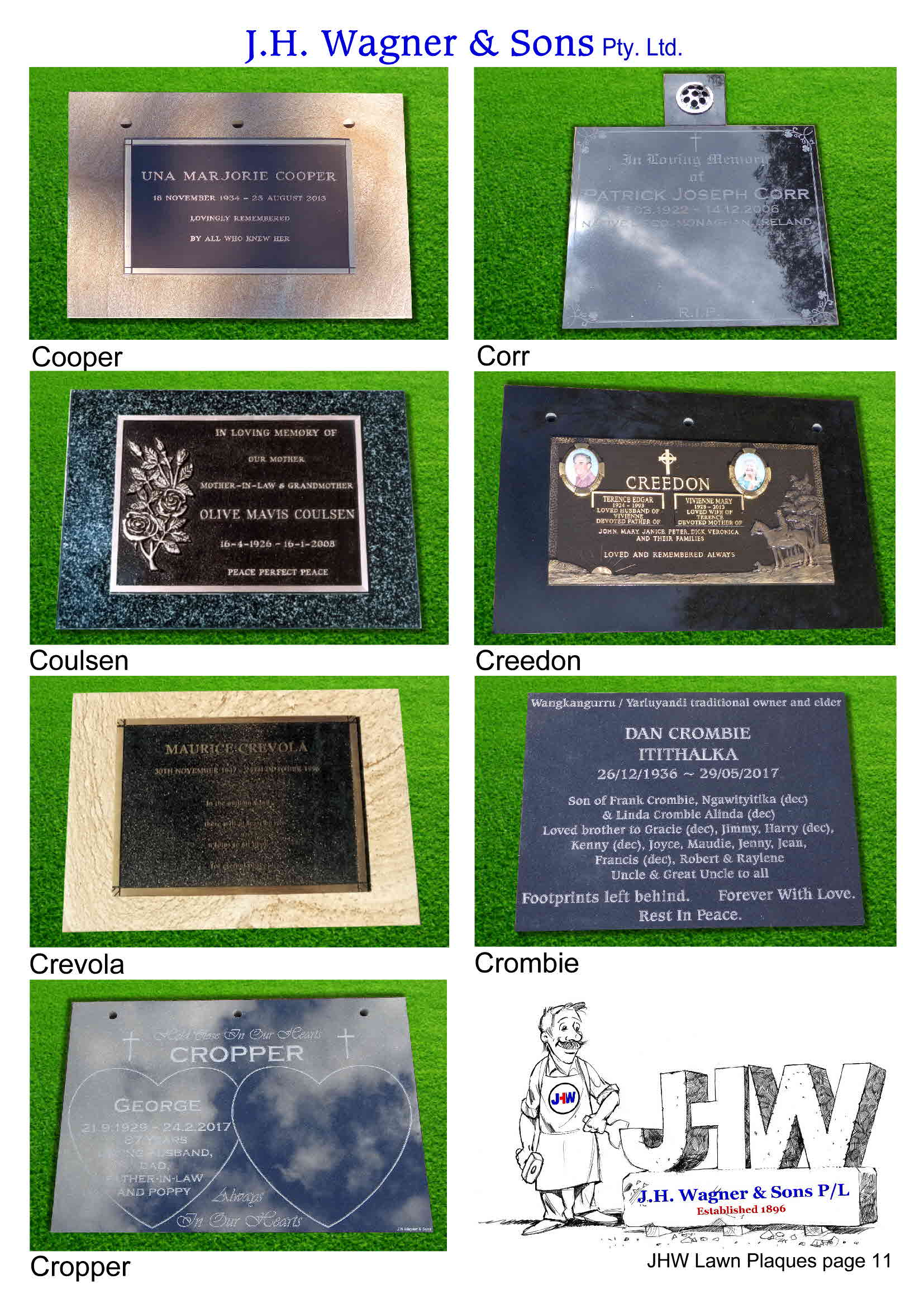 Cemetery Lawn Plaques by J.H. Wagner & Sons