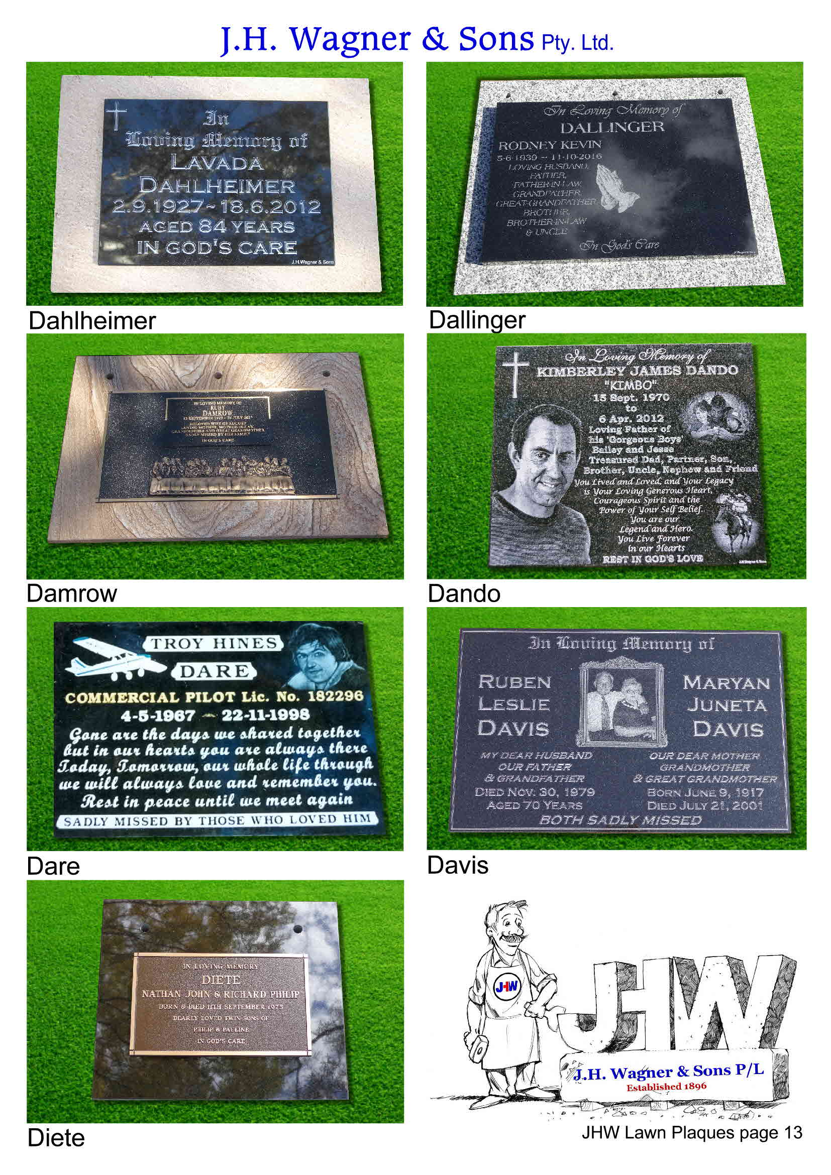 Memorial Plaques by J.H. Wagner & Sons. Page 13