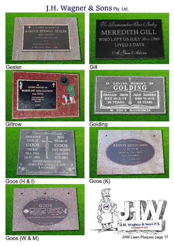 Lawn Plaques by J.H. Wagner