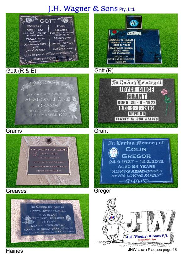 Cemetery Lawn Plaques by J.H. Wagner