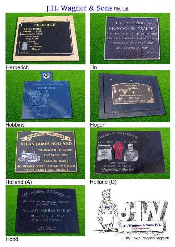 Lawn Plaques by J.H. Wagner Toowoomba