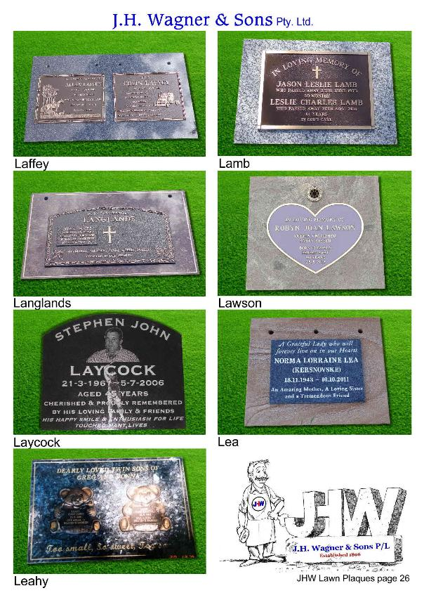 Lawn Plaques by J.H. Wagner & Sons Toowoomba and Sumner Park