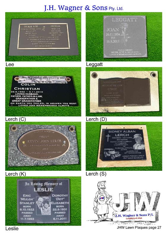 Memorial lawn plaques by J.H. Wagner