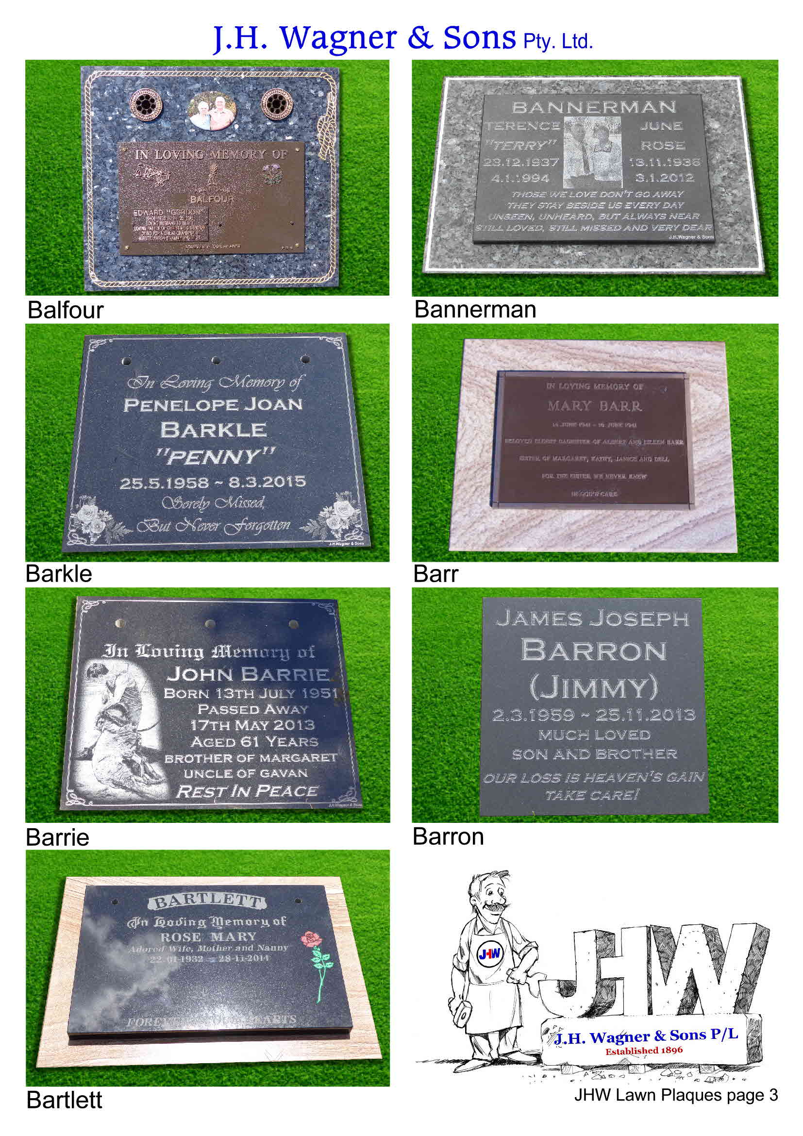 Lawn plaques and Tablets from J.H. Wagner & Sons page 3