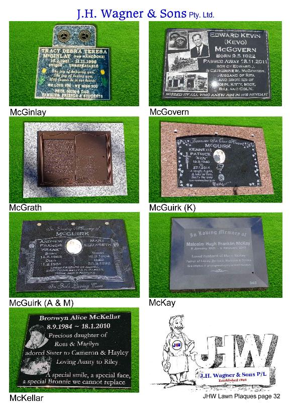 Memorial Lawn Plaques by JHW Toowoomba and Sumner Park