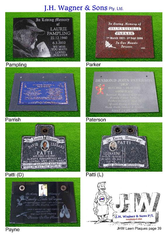 Lawn Plaques by J.H. Wagner & Sons