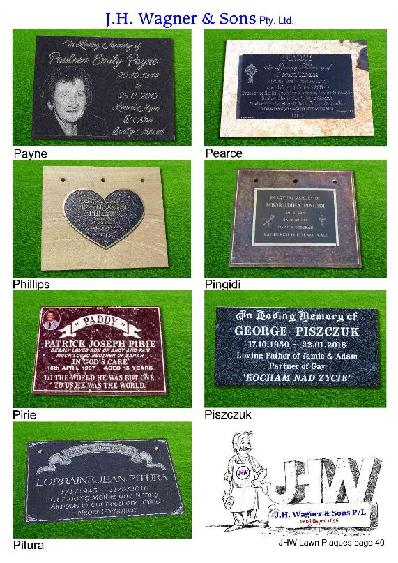 Remembrance Plaques by JHW Toowoomba and Sumner Park
