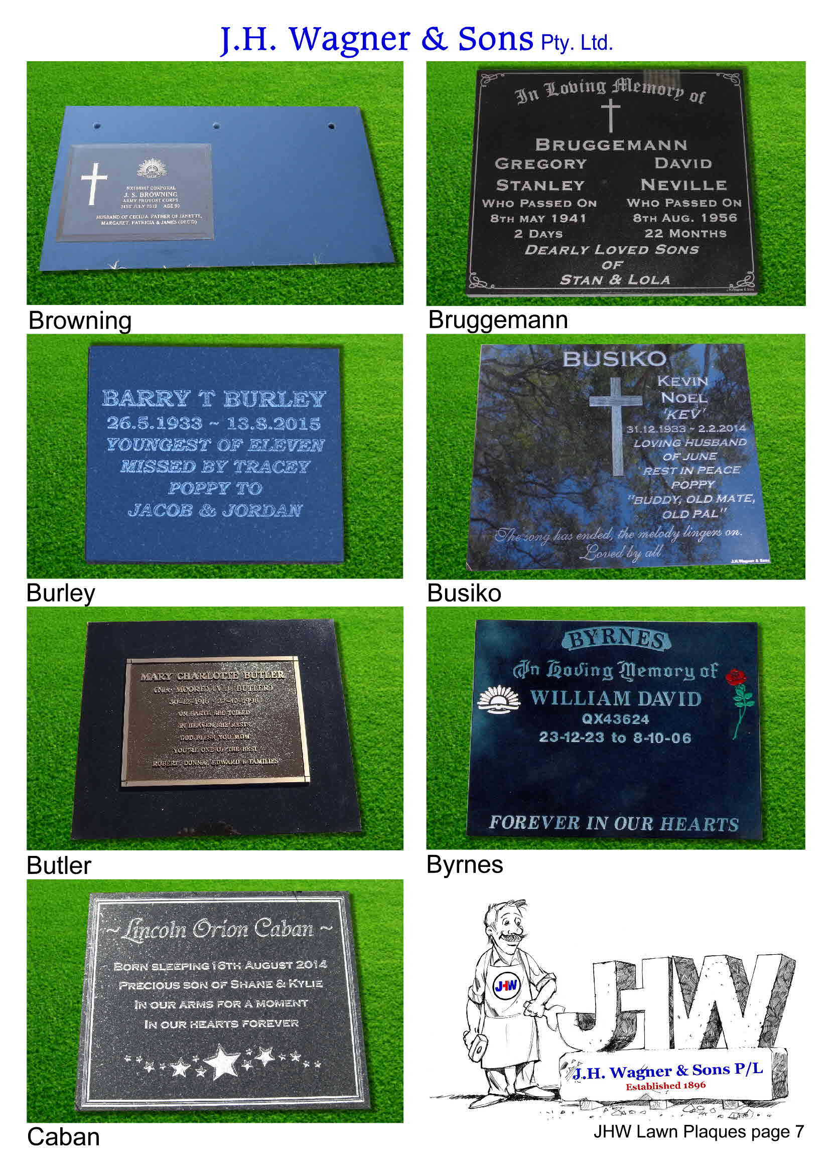 Remembrance Plaques from J.H. Wagner & Sons Page 7