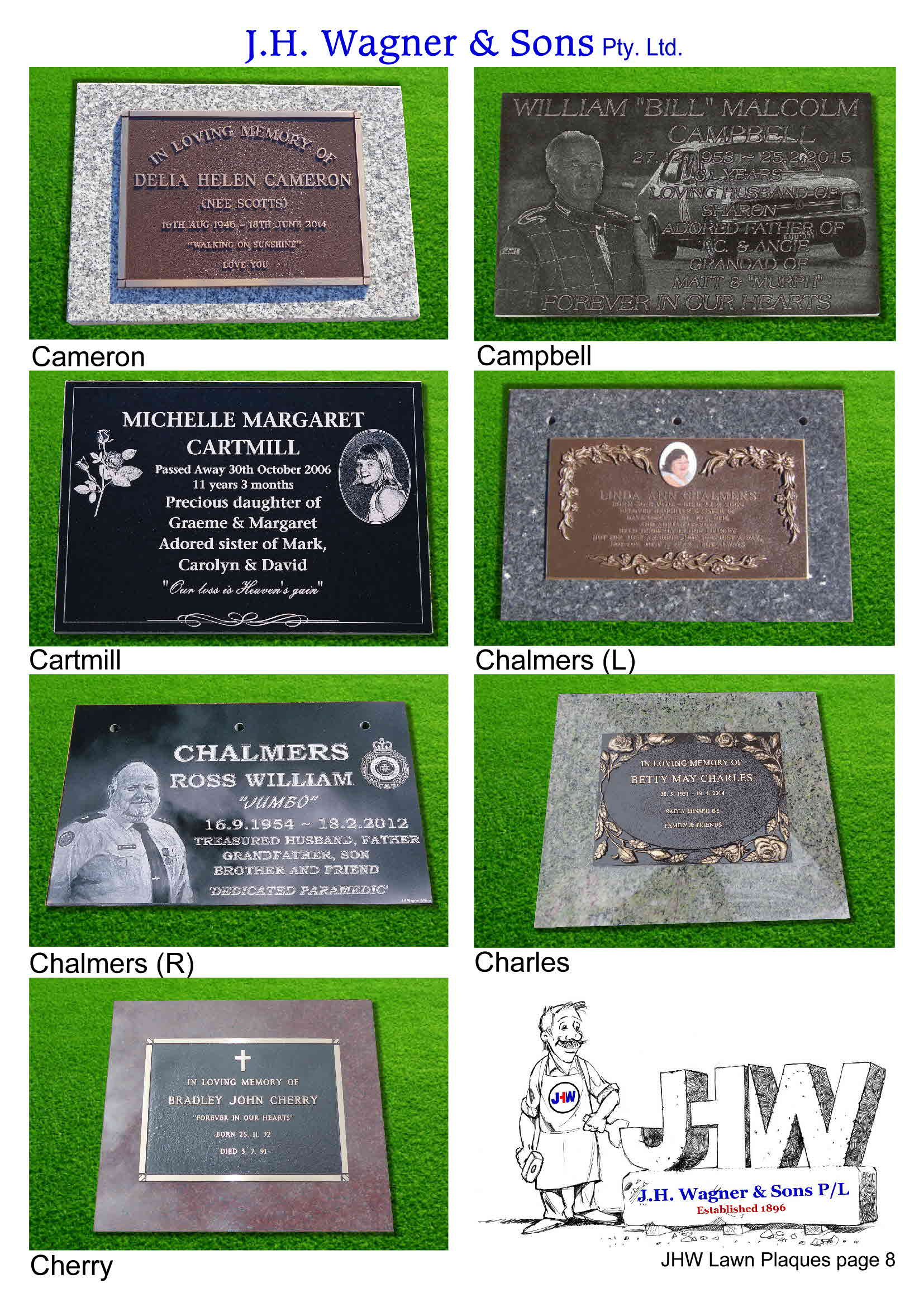 Memorial Lawn plaques by J.H. Wagner & Sons. Page 8