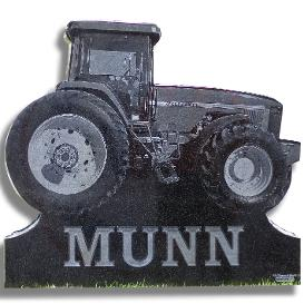 Custom tractor shaped headstone by J.H. Wagner & Sons, Toowoomba Queensland