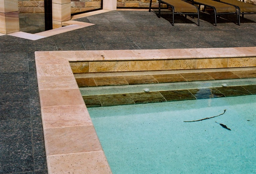 Pool coping tiles by J.H. Wagner & Sons.
