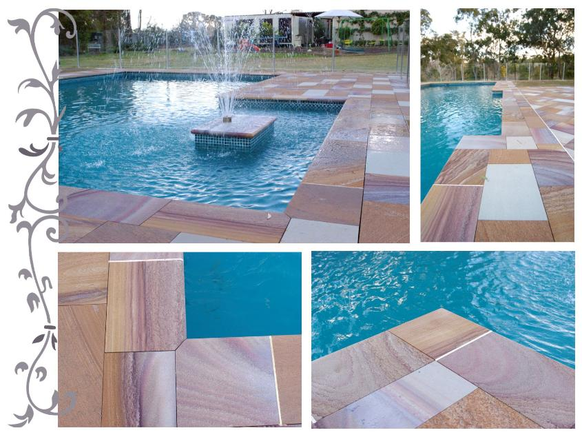 Sandstone Pool Coping Tiles by J.H. Wagner & Sons.