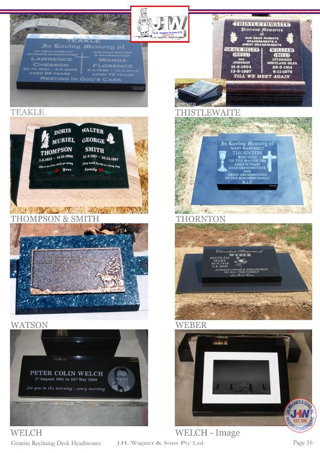 Granite Reclining Desk Headstones by J.H. Wagner & Sons Page 16