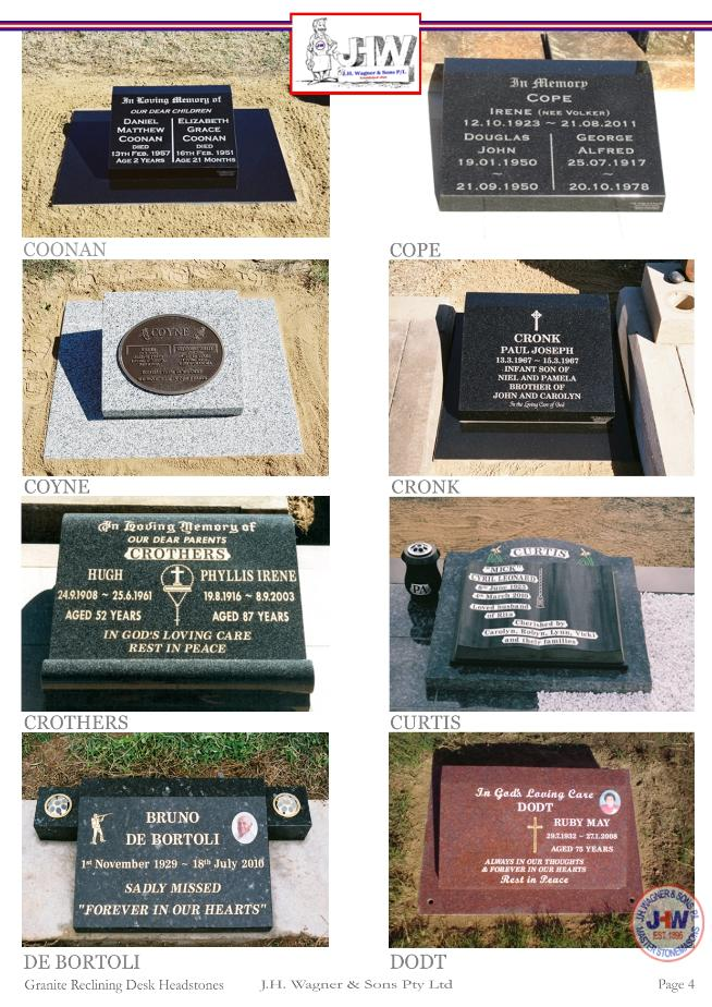 Granite Reclining Desk Headstones by J.H. Wagner & Sons Page 4