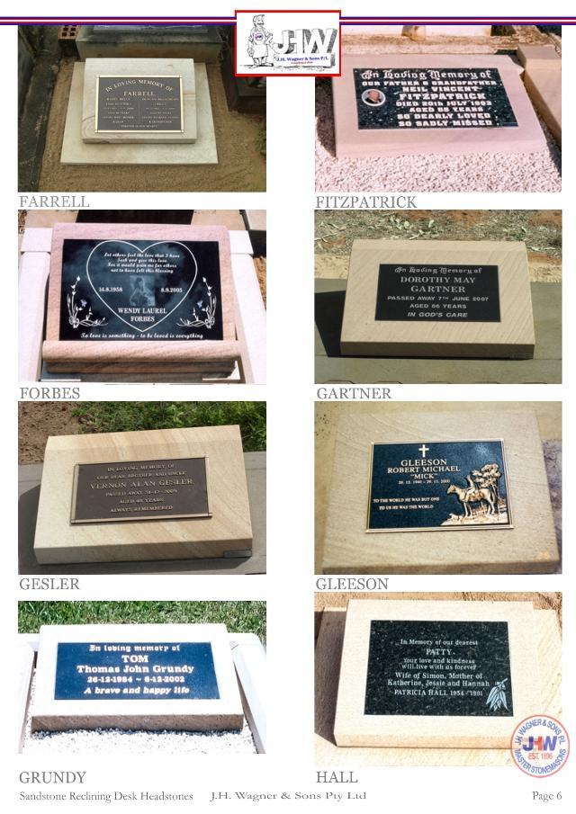Sandstone Reclining Desk Headstones Page 6