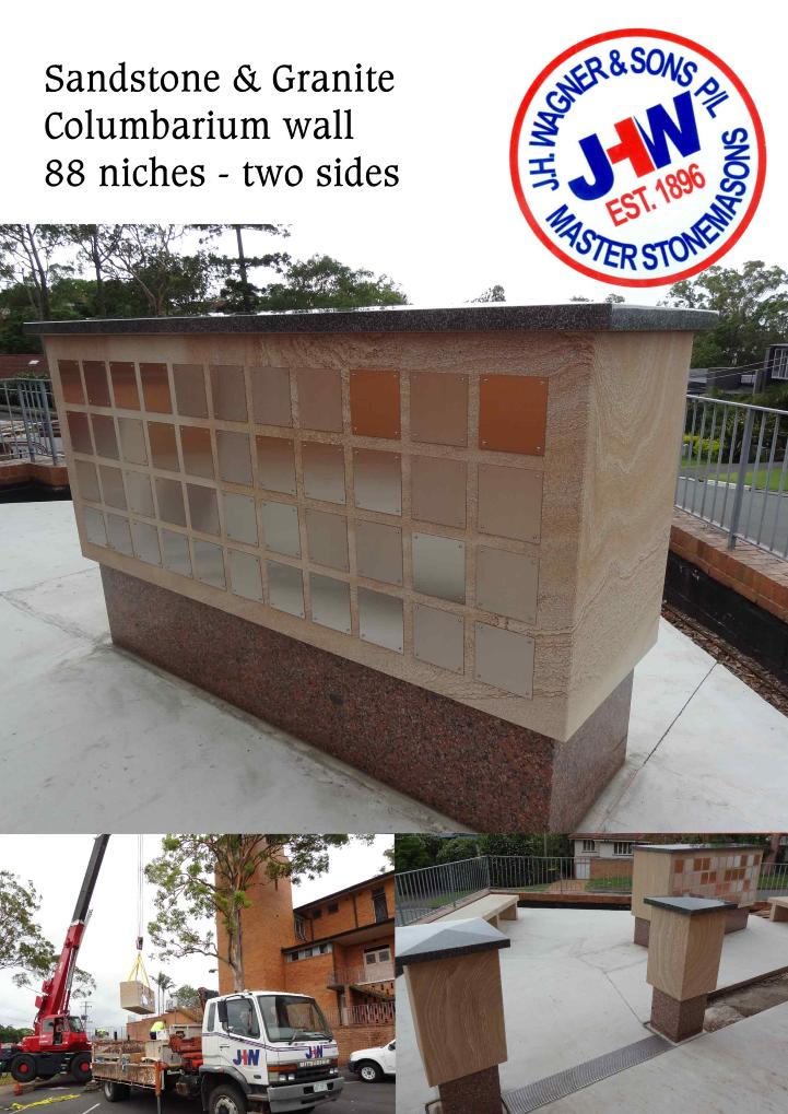 Sandstone columbarium wall from J.H. Wagner & Sons