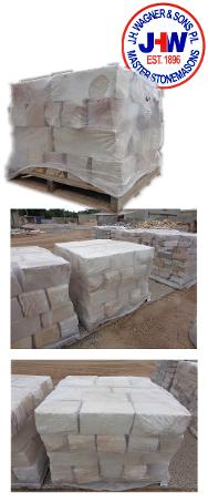 Sandstone Garden Terrace blocks packed on pallets from J.H. Wagner & Sons.