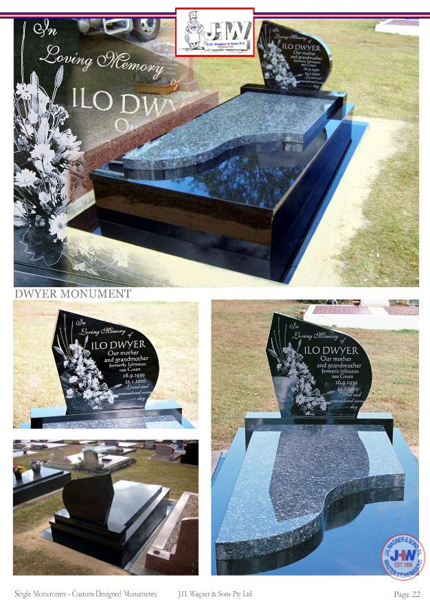 Custom Designed single monuments by J.H. Wagner & Sons.