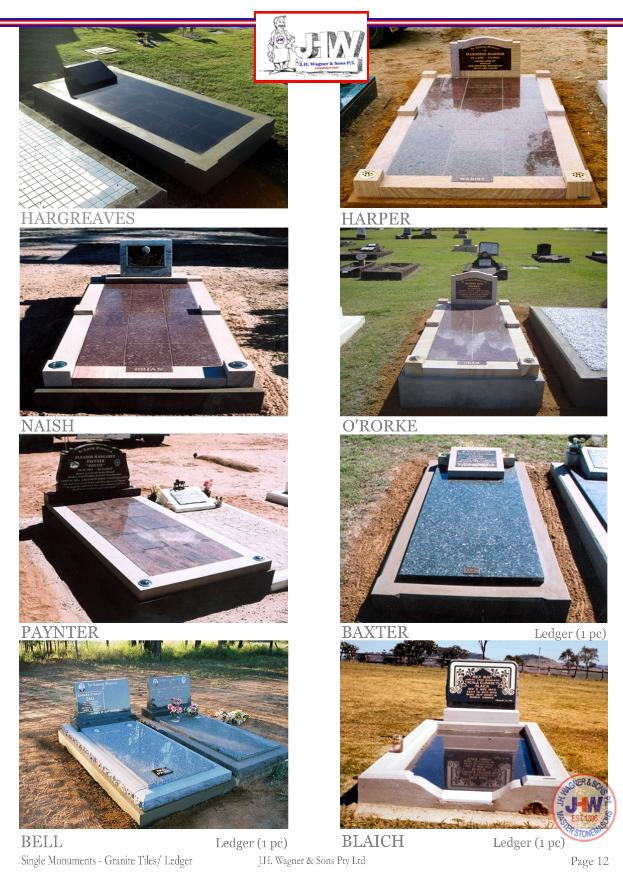 Single Monuments with Granite Tile /Ledger floor by J.H. Wagner & Sons.