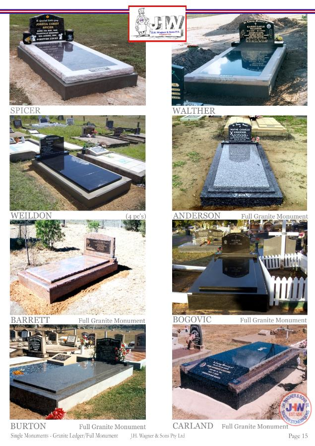 Single Monuments with granite floors by J.H. Wagner & Sons.
