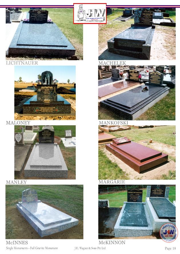 Full Granite single monuments supplied and installed by J.H. Wagner & Sons.