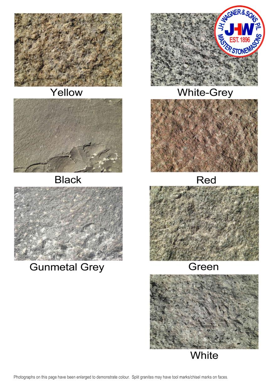 Split Granite and Basalt Colour Chart from J.H. Wagner & Sons.