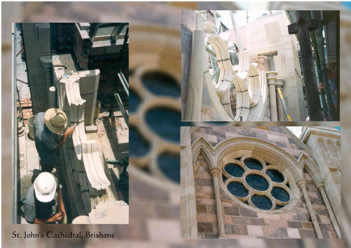 Stonemasons at work on St. John's Cathedral, Brisbane