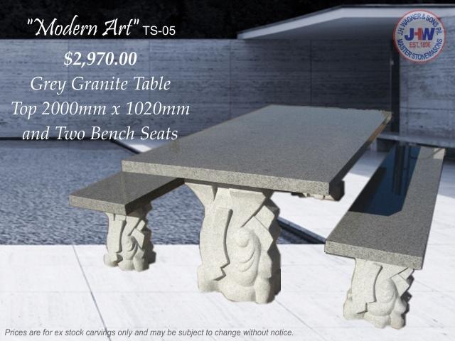 Granite garden table setting Queensland J H Wagner