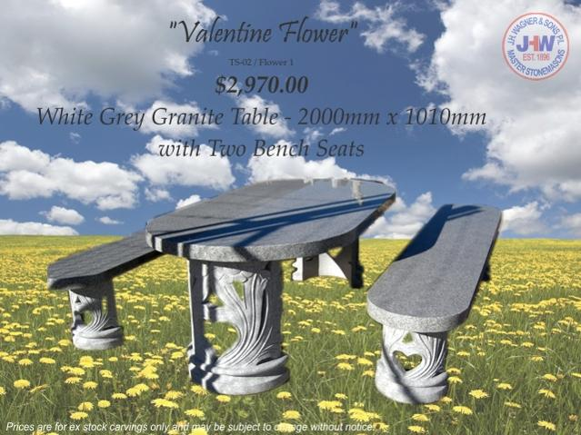 Valentine Granite table setting J.H. Wagner, Harristown and Sumner Park