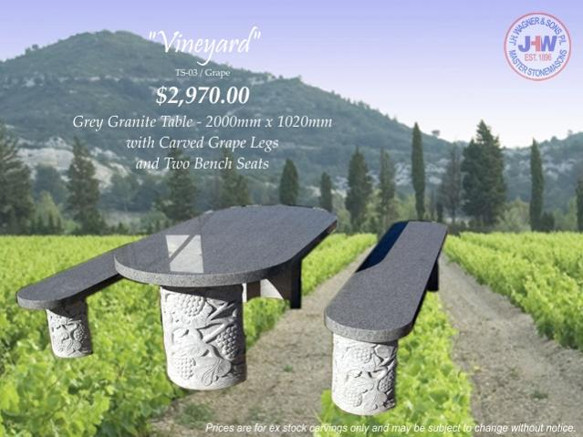 Outdoor stone table grey granite Wagner Toowoomba, Brisbane Queensland
